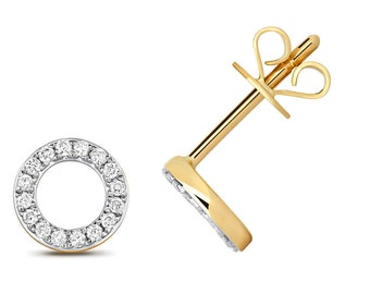 9ct Yellow Gold 0.12ct HSi Diamond 6mm Eternity Circle Stud Earrings