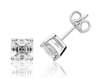 Solitaire 6mm Assher Cut Claw Set Stud Earrings Rhodium Plated 925 Sterling Silver With Swarovski Cz