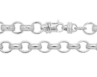 "Men's Solid 925 Sterling Silver 8.5"" Embossed 10x8mm Oval Link 4mm Belcher Chain Bracelet"