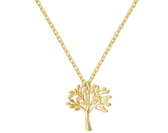 "9ct Yellow Gold Small 10mm Cut Out Tree of Life Pendant on 16""-18"" Necklace Hallmarked"