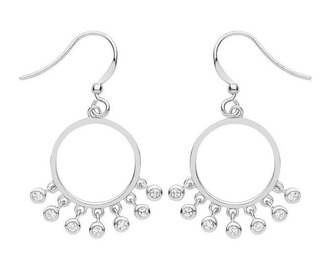 925 Sterling Silver 15mm Circle Hook Drop Earrings With Cz Tassel Bead Charms
