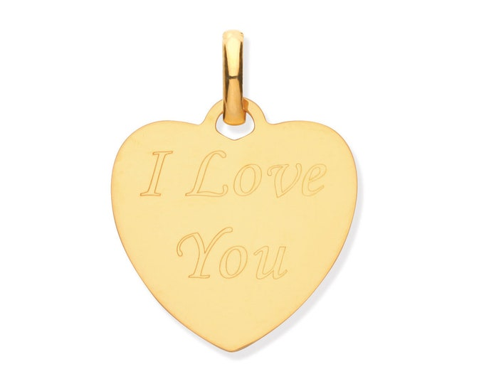 9ct Yellow Gold 1.5cm I Love You Heart Engraved Disc Tag Pendant Hallmarked - Real 9K Gold