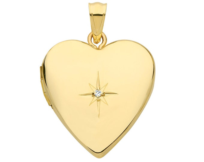 9ct Yellow Gold 20mm 2 Photo Heart Shaped Locket With Single Diamond Hallmarked