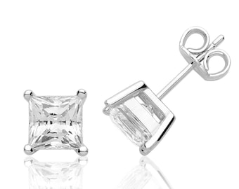 Solitaire 6mm Princess Cut Claw Set Stud Earrings Rhodium Plated 925 Sterling Silver With Swarovski Cz