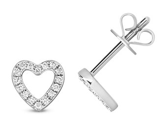 9ct White Gold 0.12ct HSi Diamond 6mm Heart Stud Earrings