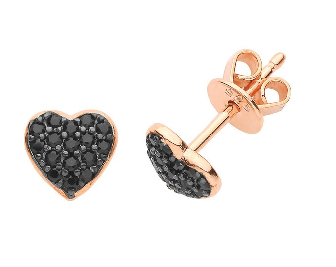 Rose Gold on 925 Sterling Silver 6mm Pave Black Heart Stud Earrings