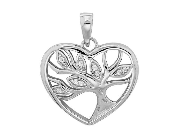 925 Sterling Silver Tree Of Life Cz Heart Shaped Pendant