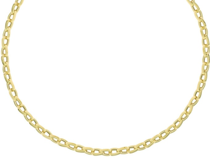 """9ct Yellow Gold Fancy Rounded Triangle Link 18"""" Necklet - Solid 9K Gold"""
