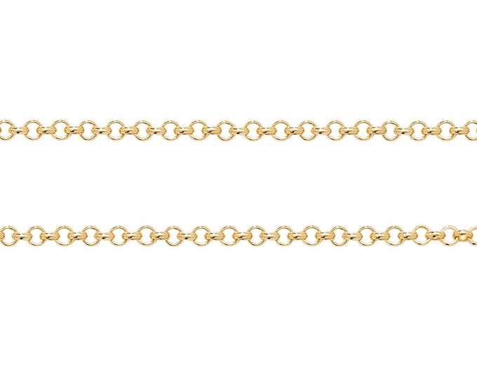 """9ct Yellow Gold 1.5mm Rolo Belcher Chain 16"""" 18"""" 20"""" 22"""" 24"""" Hallmarked - Real 9K Gold"""