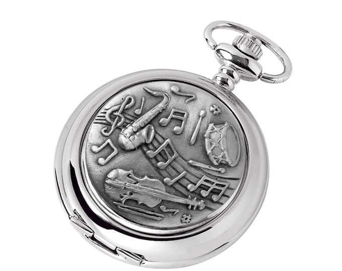 Musical Instruments Personalised Chrome & Pewter Pocket Watch - Customised Engraved Message