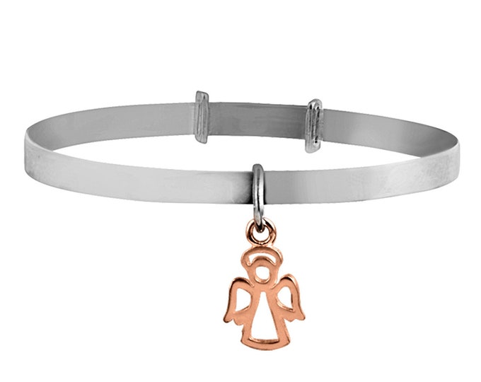 925 Sterling Silver Your Guardian Angel Rose Gold Charm Expandable Baby Bangle