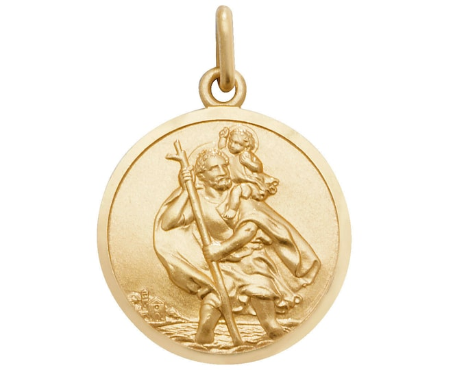 Solid 9ct Yellow Gold Round St Christopher Medallion Charm Pendants - Real 9K Gold