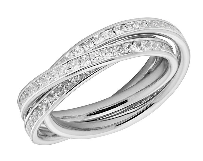 Ladies 925 Sterling Silver Half Channel Set Princess Cz Russian Wedding Ring