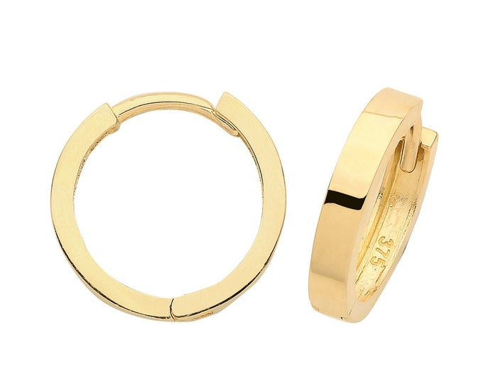 9ct Yellow Gold 15mm Diameter Hinged Flat Tube Hoop Earrings