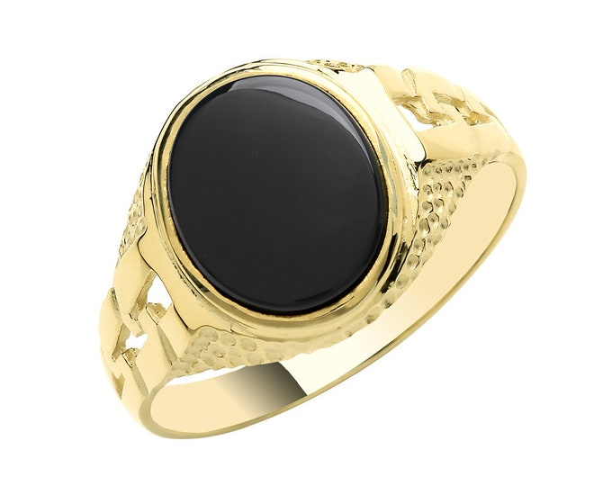 Men's 9ct Yellow Gold 12x10mm Oval Black Onyx Signet Ring With Curb Link Sides - Real 9K Gold