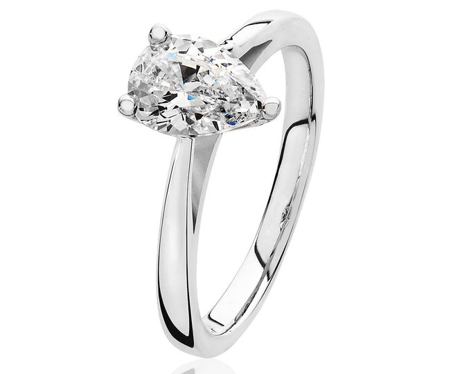 Rhodium Plated 925 Sterling Silver 8x6mm Solitaire Pear Cz Engagement Ring