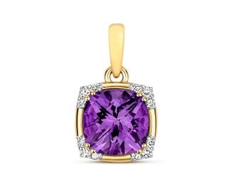 9K Gold Diamond & Purple Amethyst Cushion Cut Art Deco Design Pendant