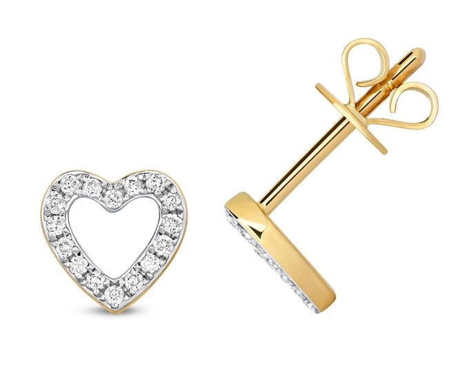 9ct Yellow Gold 0.12ct HSi Diamond 6mm Heart Stud Earrings