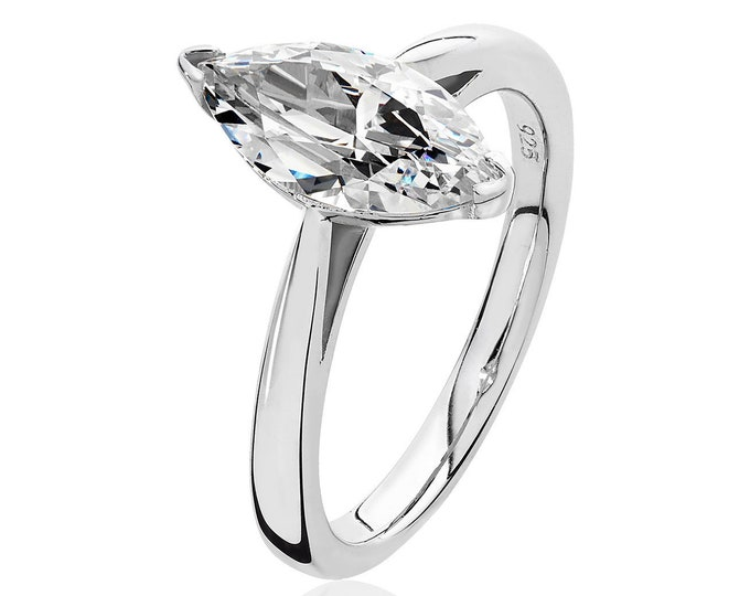 Rhodium Plated 925 Sterling Silver 12x6mm Solitaire Marquise Cz Engagement Ring