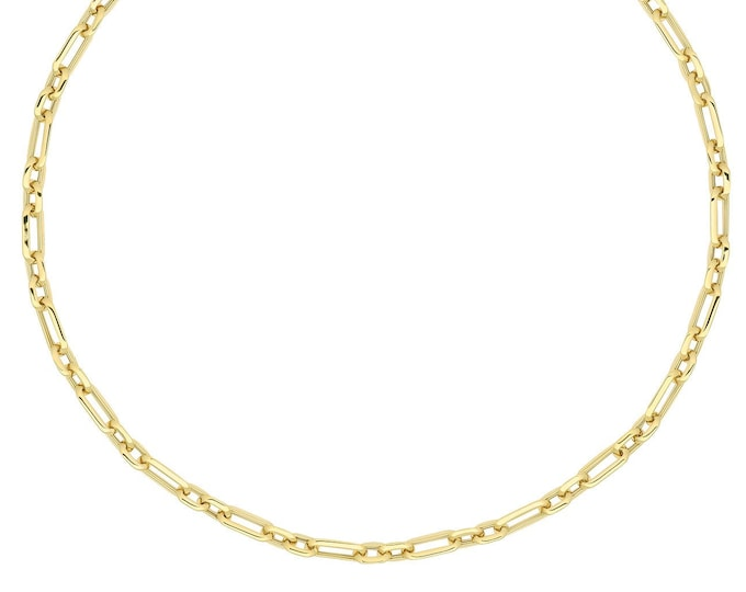 """9ct Yellow Gold Fancy Oval Links 18"""" Necklet - Solid 9K Gold"""