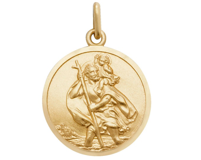 Personalised 9ct Yellow Gold 1.8cm St Christopher Medallion Pendant - Engraved Message