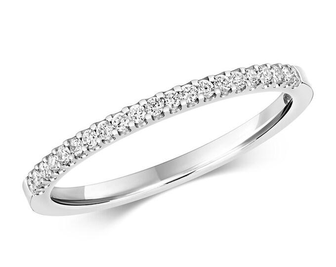 9ct White Gold 0.16ct Diamond Eternity Wedding Ring Hallmarked 1.25mm Band - Real 9K Gold