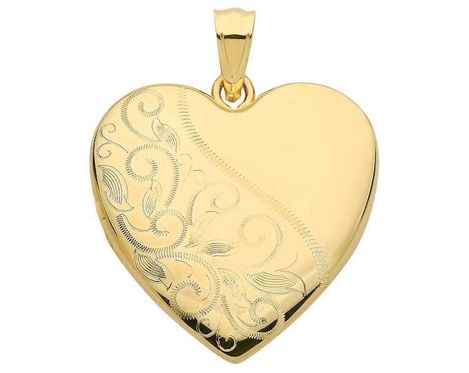 9ct Yellow Gold 24mm Half Engraved 2 Photo Heart Shaped Locket Hallmarked