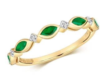 9ct Yellow Gold 1.5mm Marquise Emerald & Diamond Wreath Eternity Ring Hallmarked - Real 9K Gold