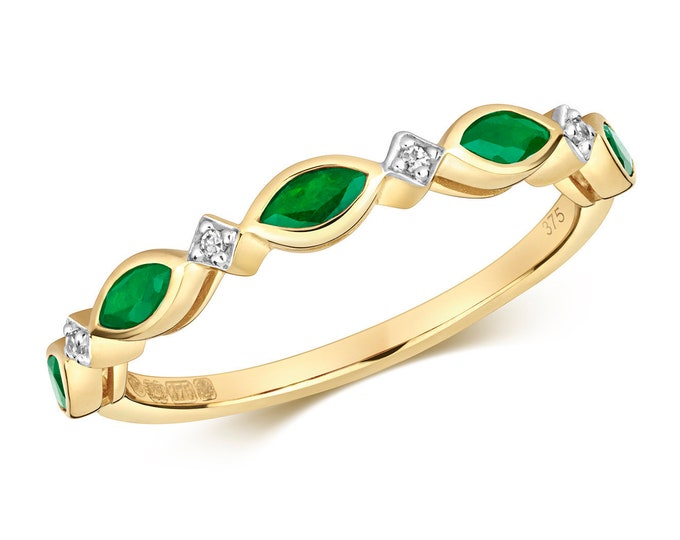 9ct Yellow Gold 1.5mm Marquise Emerald & Diamond Wreath Eternity Ring Hallmarked