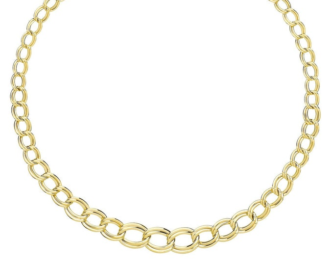 """9ct Yellow Gold Graduated Open Double Oval Links 17"""" Necklet - Solid 9K Gold"""