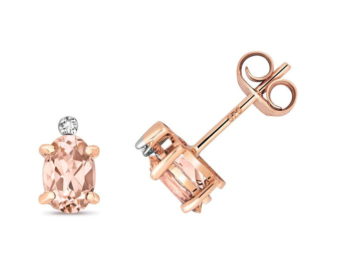 9ct Rose Gold Diamond & Oval Cut 5x4mm 0.15ct Light Pink Morganite Stud Earrings - Real 9K Gold