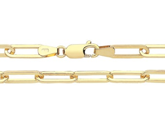 9ct Yellow Gold 3.5mm Wide Paperclip Link Chain Necklaces Hallmarked - 9K Gold