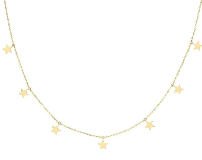 """9ct Yellow Gold Interstellar Hanging Stars Charm Chain 15.5"""" to 17.5"""" Necklace Hallmarked - Real 9K Gold"""