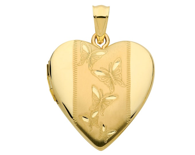 9ct Yellow Gold 20mm Butterfly Engraved 2 Photo Heart Shaped Locket Hallmarked