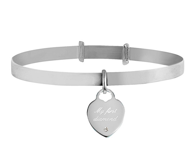 My First Diamond 925 Sterling Silver Heart Tag Charm Expandable Baby Bangle