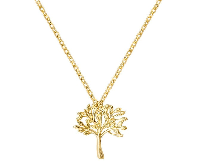 """9ct Yellow Gold Small Tree of Life Charm Pendant on Adjustable 15.5""""-17.5"""" Necklace Hallmarked"""