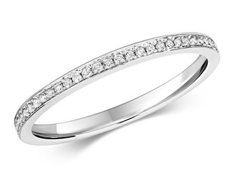 9ct White Gold 1.2mm Flat Profile 0.10ct Diamond Eternity Ring Hallmarked - Real 9K Gold
