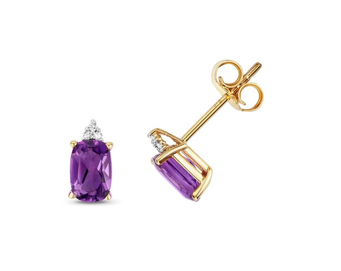 9ct Gold Diamond & Cushion Cut 6x4mm Purple Amethyst Stud Earrings - Real 9K Gold
