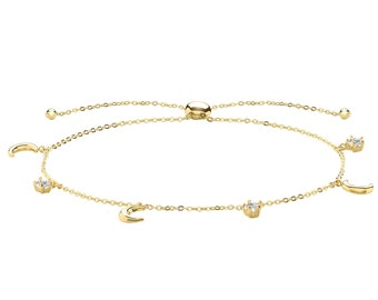 """Ladies 9ct Yellow Gold Moon & Star Charms Slider 7"""" Friendship Toggle Bracelet"""