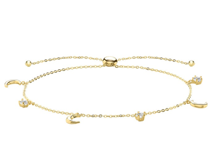 "Ladies 9ct Yellow Gold Moon & Star Charms Slider 7"" Friendship Toggle Bracelet"
