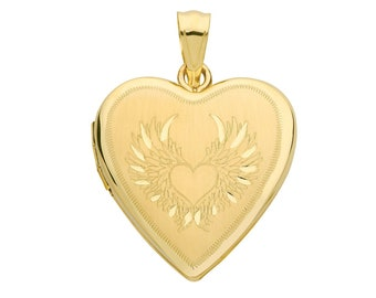 9ct Yellow Gold 20mm Guardian Angel Wings 2 Photo Heart Shaped Locket Hallmarked - Real 9K Gold