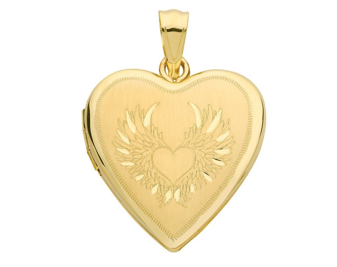 9ct Yellow Gold 20mm Guardian Angel Wings 2 Photo Heart Shaped Locket Hallmarked