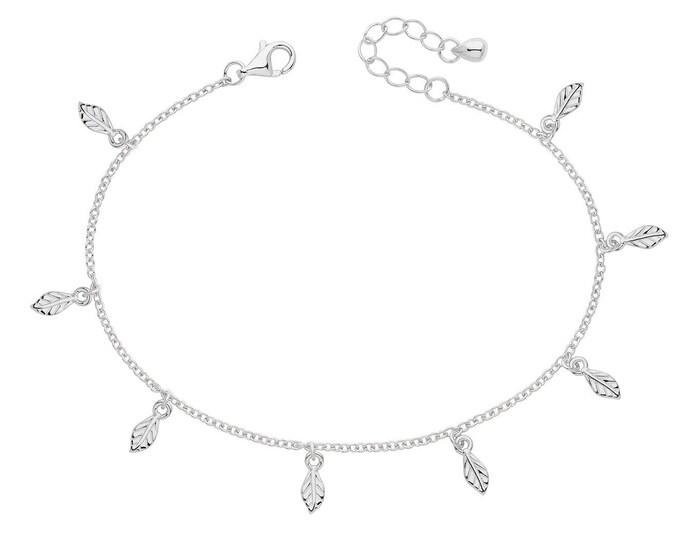 "925 Sterling Silver Leaf Charms 7"" Bracelet Rhodium Plated"