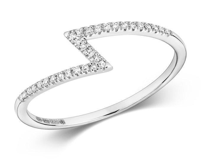 Ladies 9K White Gold 0.06ct Diamond Zigzag Ring - Real 9K Gold