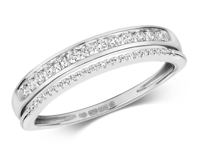 9ct White Gold Split Eternity Ring Channel & Claw Set 0.25ct Diamond Bands - Real 9K Gold