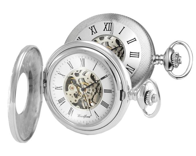 Woodford Sterling Silver 17 Jewel Skeleton Mechanical Half Hunter Pocket Watch - Free Engraving