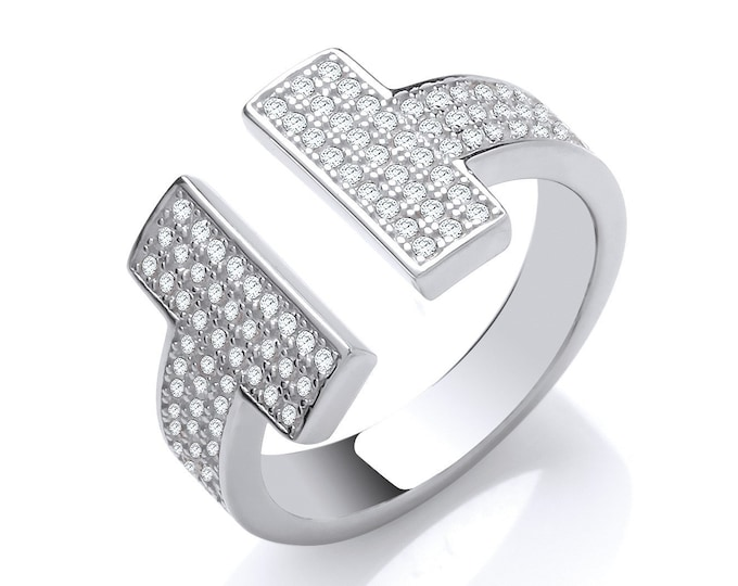 Ladies Contemporary 3 Row Pave Set Cz T-Bar Ring 925 Sterling Silver