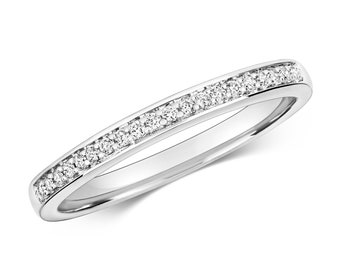 9ct White Gold 1.2mm Flat Profile 0.09ct Grain Set Diamond Eternity Ring Hallmarked - Real 9K Gold
