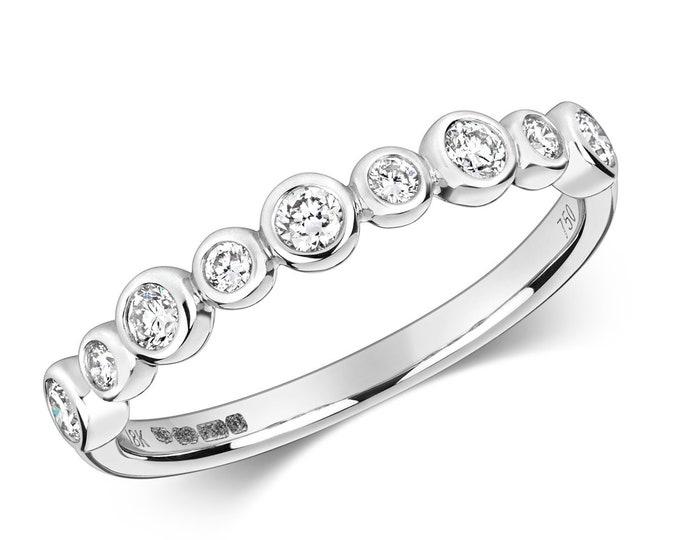 18ct White Gold 2mm 0.31ct Rubover Half Set Diamond Shaped Eternity Ring Hallmarked