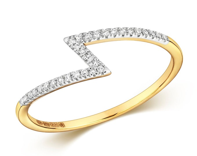 Ladies 9K Yellow Gold 0.06ct Diamond Zigzag Ring - Real 9K Gold